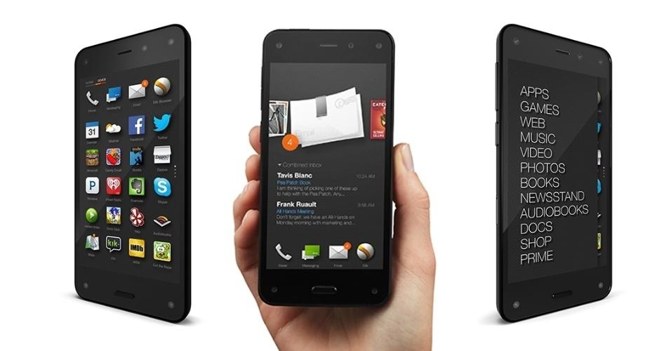 18.jun.2014 - A Amazon estreou no mercado de smartphones com o Fire Phone. O aparelho tem tela de 4,7 polegadas sensível ao toque, processador quad-core (de quatro núcleos) de 2,2 GHz, 2 GB de RAM, uma câmera traseira de 13 megapixels e um frontal de 12 megapixels. O aparelho tem preço sugerido de US$ 649 (desbloqueado) e US$ 749 (desbloqueado) e vai começar a ser vendido em 25 de julho nos Estados Unidos