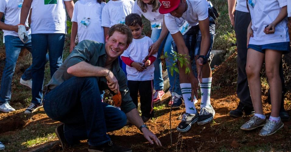 25.jun.2014 - O príncipe Harry, neto da rainha Elizabeth 2ª, da Inglaterra, planta árvore durante visita a Cubatão, no litoral de São Paulo, nesta quarta-feira (25)