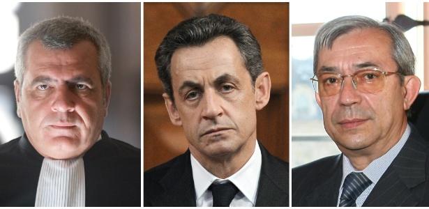 Da esquerda para a direita: o advogado francês Thierry Herzog, o ex-presidente francês Nicolas Sarkozy, e o juiz francês Gilbert Azibert