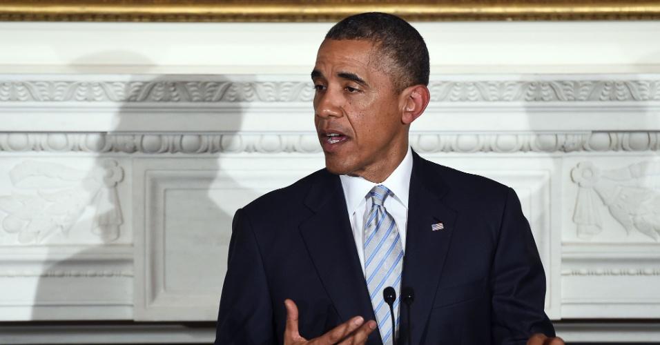 14.jul.2014 - O presidente dos Estados Unidos, Barack Obama, discursa durante jantar para muçulmanos durante o Ramadã, na Casa Branca, em Washington, nesta segunda-feira (14). Ele afirmou que tem esperanças de um plano de cessar fogo no Egito e que a paz seja restaurada na Faixa de Gaza