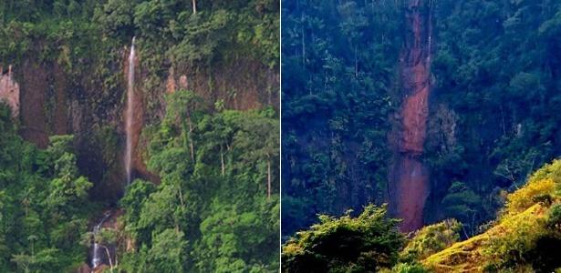 Uma das três cachoeiras da Furna, em São Pedro, ainda com água (à esq.), e hoje (à dir.), quando está praticamente seca