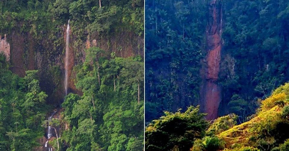 Cachoeira de Furna com água e depois seca