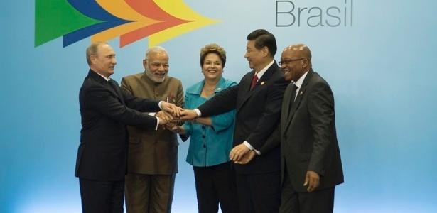Putin (Rússia), Modi (índia), Dilma (Brasil), Xi Jinping (China) e Zuma (África do Sul)