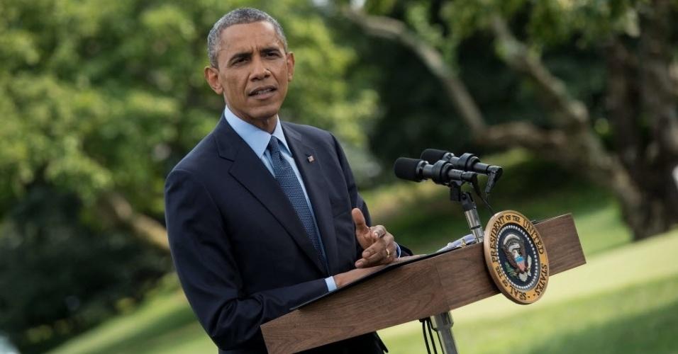 29.jul.2014 - O presidente dos Estados Unidos, Barack Obama, fala sobre a situação da Ucrânia no jardim sul da Casa Branca, em Washington DC (EUA), nesta terça-feira (29)