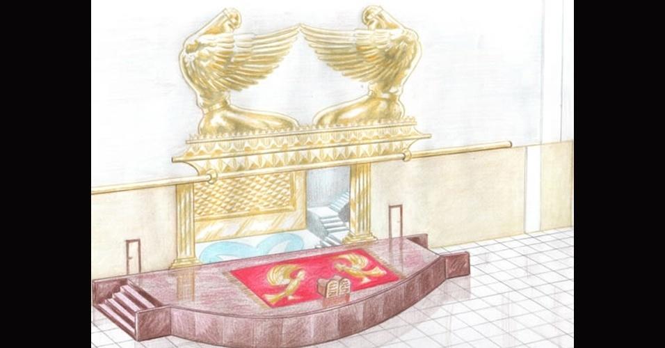 abr.2014 - Imagem do projeto da Arca da Aliança, que foi instalada no Santo dos Santos, a sala mais reservada do Templo de Salomão, construído em uma área de 35 mil m2 na região central de São Paulo