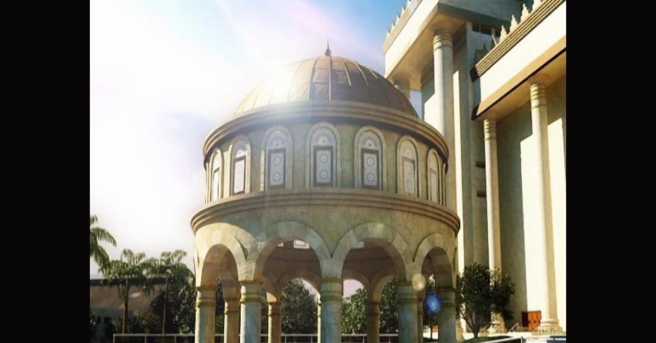 abr.2014 - Projeto destaca detalhes do Templo de Salomão, construído em uma área de 35 m2 na região central de São Paulo. A obra, que demorou quatro anos, custou R$ 680 milhões