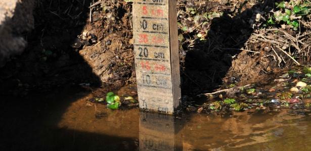 Régua que mede o nível da água no reservatório do Itaim, na região de Itu (SP), indicava 0 cm em 8 de agosto de 2014