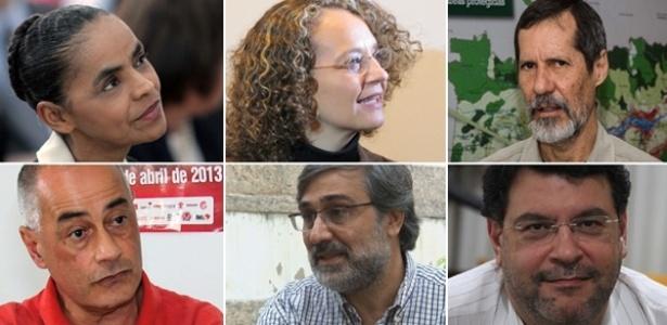 Os ex-petistas Marina Silva (PSB), Luciana Genro (PSOL), Eduardo Jorge (PV), Zé Maria (PSTU), Mauro Iasi (PCB) e Rui Costa Pimenta (PCO)