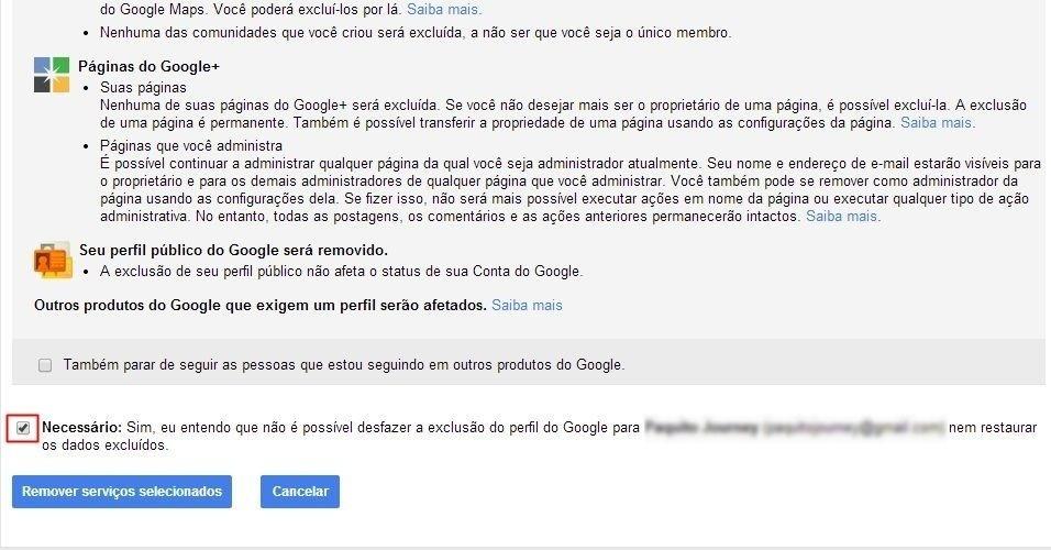 Deletar Google+