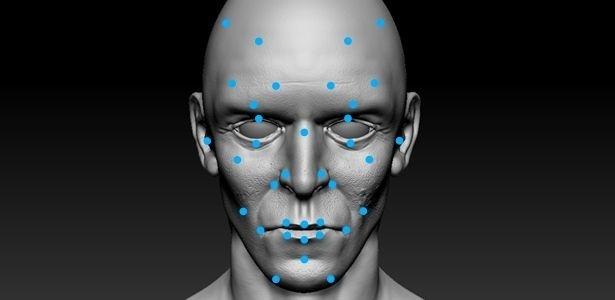 Pontos usados no reconhecimento facial. Fonte: Paulo Rodrigues, professor da FEI