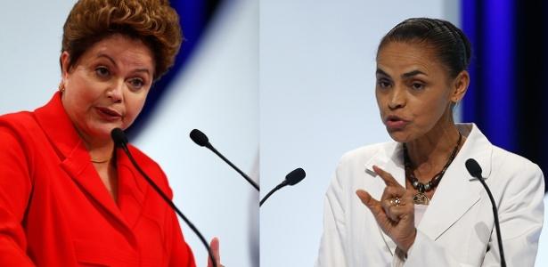 1º.set.2014 - As candidatas Dilma Rousseff (PT) e Marina Silva (PSB) durante debate debate dos candidatos à Presidência da República promovido pelo UOL, Folha de S. Paulo, SBT e a rádio Jovem Pan, nesta segunda-feira (1º), no estúdio do SBT,em São Paulo