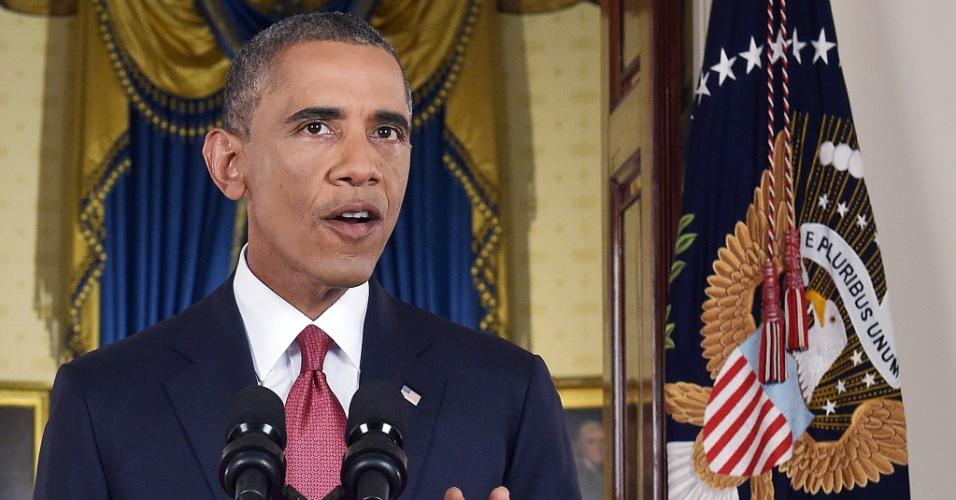 10.set.2014 - O presidente norte-americano Barack Obama faz pronunciamento oficial nesta quarta-feira (10) em que anuncia uma grande campanha militar para