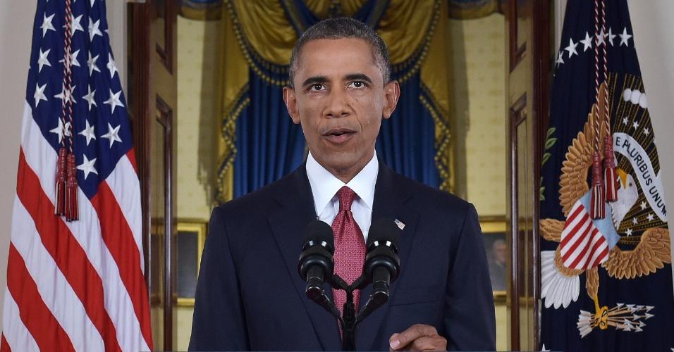 10.set.2014 - O presidente norte-americano Barack Obama faz pronunciamento oficial nesta quarta-feira (10) na Casa Branca, em que promete atacar os militares do Estado Islâmico 'onde quer que existam