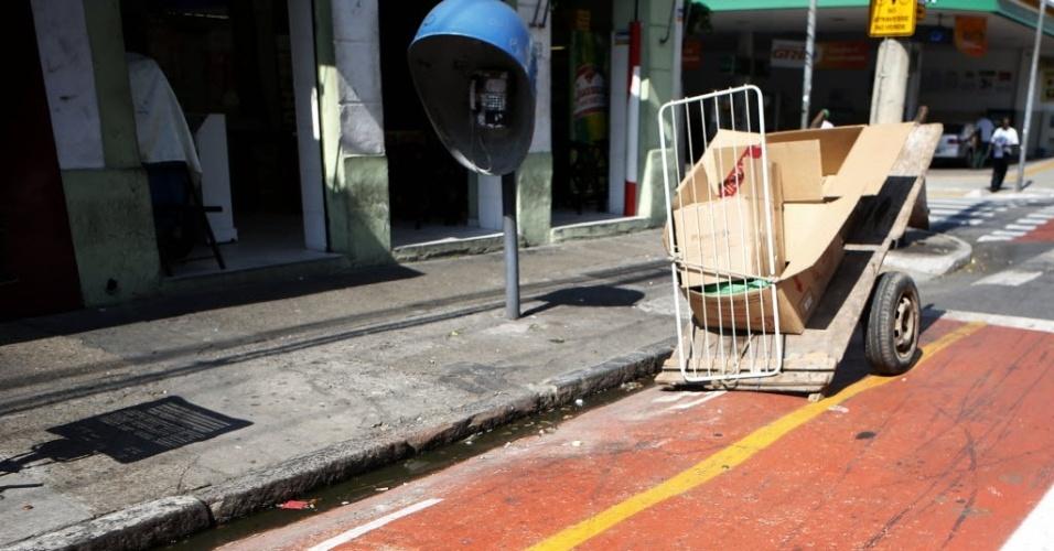 12.set.2014 - Carroça é flagrada parada na ciclovia da rua Barra Funda, na região central de São Paulo