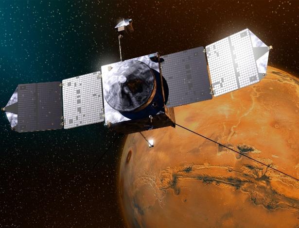 """A sonda Maven chegará a Marte no dia 22 de setembro, segundo estimativas dos técnicos da Nasa. Nesta ilustração, a Maven prepara-se para pousar no chamado """"planeta vermelho"""""""