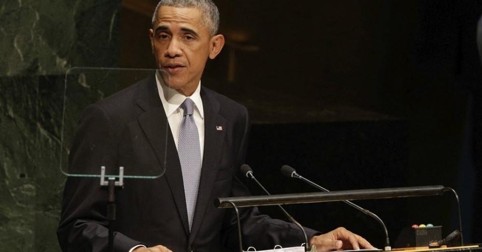 24.set.2014 - O presidente dos Estados Unidos, Barack Obama, prometeu na 69ª Assembleia Geral das Nações Unidas (ONU), nesta quarta-feira (24), manter a pressão militar sobre os militantes do grupo Estado Islâmico, e fez um chamado às pessoas que se juntaram ao grupo extremista no Iraque e na Síria para que