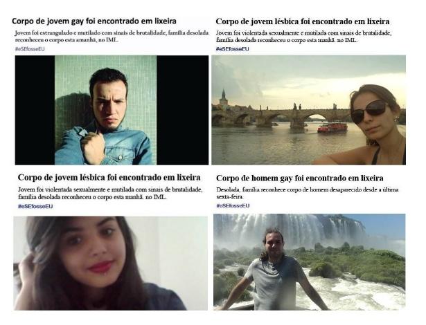 Em campanha, participantes colocam fotos de si próprios em notícias de crimes homofóbicos, que aumentaram no Brasil nos últimos anos