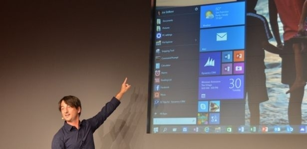 Joe Belfiore, da Microsoft, mostra volta do menu Iniciar no sistema Windows 10