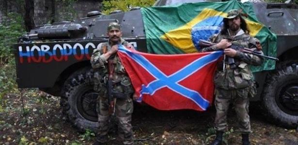 Rafael Lusvarghi (dir.), o ex-legionário estrangeiro e ex-policial militar preso no dia 12 de junho em São Paulo durante protesto contra a realização da Copa do Mundo, juntou-se aos separatistas russos no leste da Ucrânia, onde comanda um pelotão