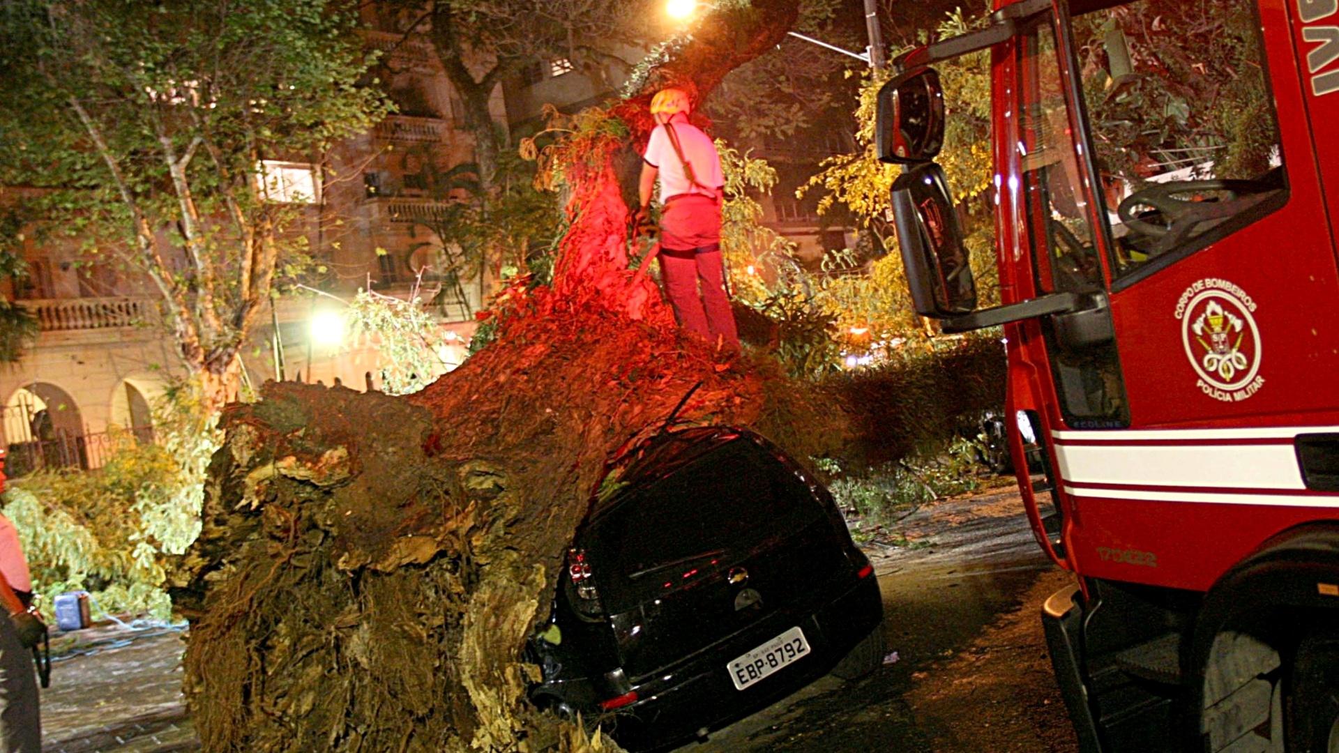 20.out.2014 - Homens do Corpo de Bombeiros trabalham no corte de árvore que caiu sobre um automóvel no bairro do Higienópolis, região central de São Paulo, na madrugada desta segunda-feira (20). A queda ocorrida pela chuva com ventos fortes não causou vítimas