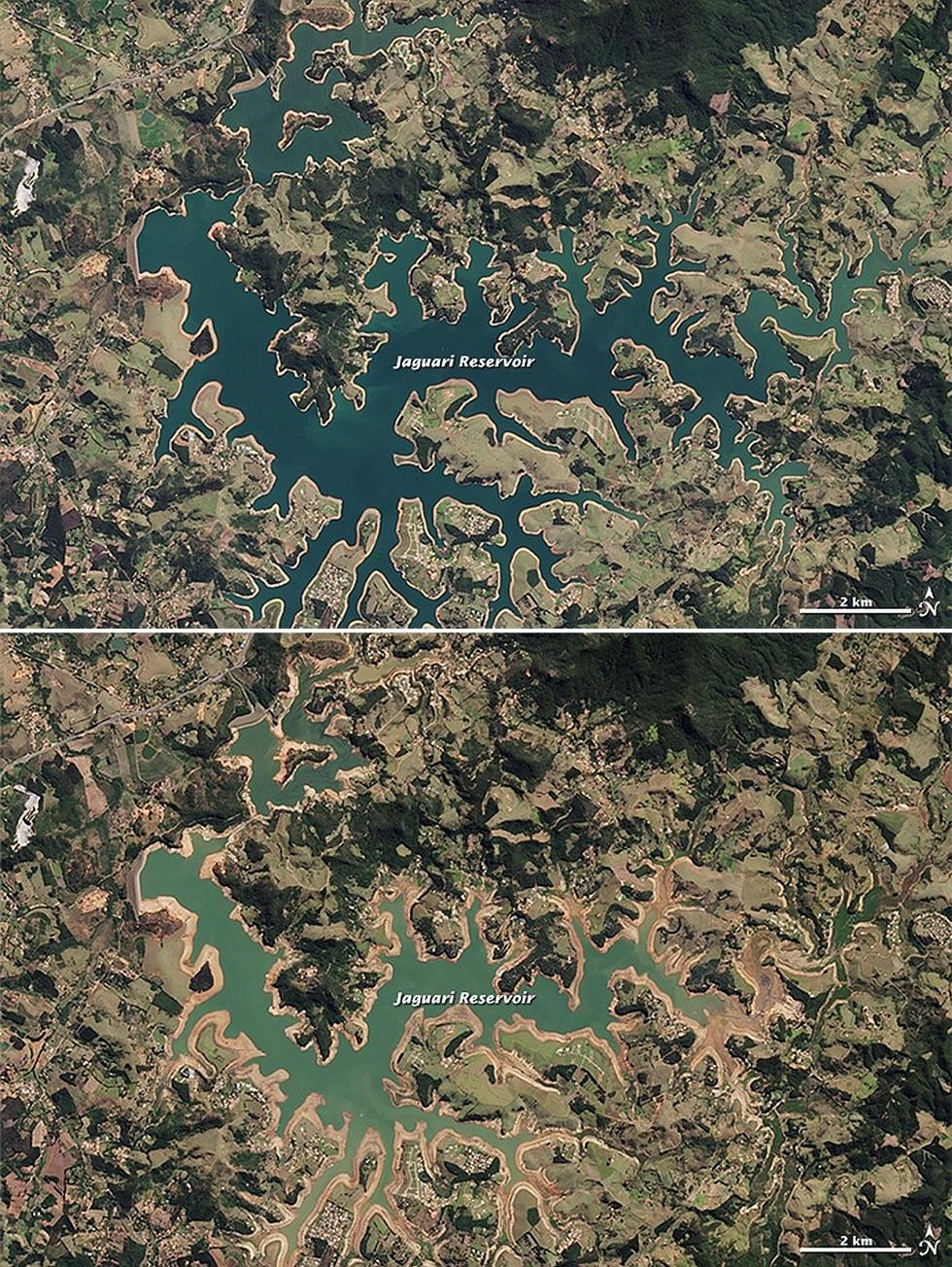23.out.2014 - Imagens feitas pelo satélite Lansat 8 e divulgadas pela Nasa (agência espacial americana) mostram os efeitos da seca na represa Jaguari, que abastece o sistema Cantareira. Na imagem do alto, feita em 16 de agosto de 2013, pode-se ver maior área ocupada pelas águas, enquanto a mais recente, em 3 de agosto de 2014 e abaixo, deixa evidente o recesso das águas