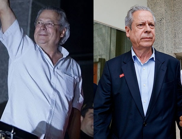 À direita, José Dirceu em 15.nov.2013, quando foi preso; à esquerda, o ex-ministro nesta terça-feira (4)