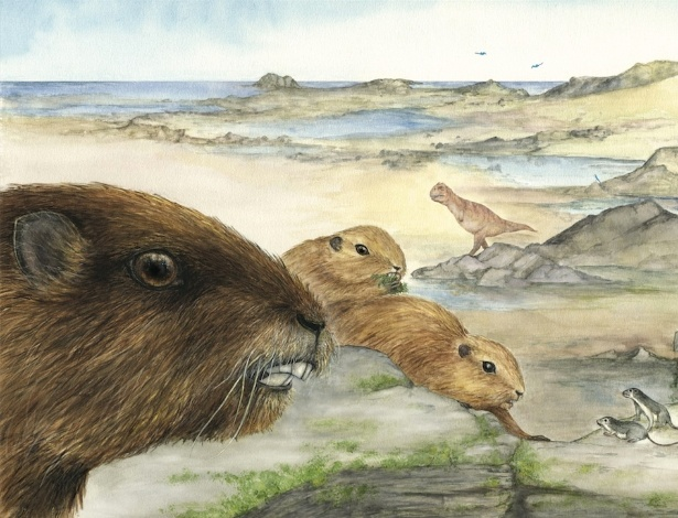 Ilustração artística mostra o mamífero Vintana sertichi, que viveu durante a era dos dinossauros, entre 66 a 72 milhões de anos atrás no supercontinente Gondwana
