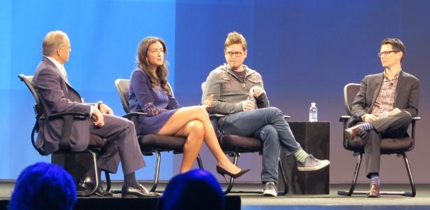 Mike Gregoire, director-executivo da CA (esq.), Jennifer Hayman, cofundadora da ´Rent the Runay´, Biz Stone , cofundador do Twitter (centro) e Jason Tanz, editor da Wired (dir.), discutem sobre a influência do software nos negócios