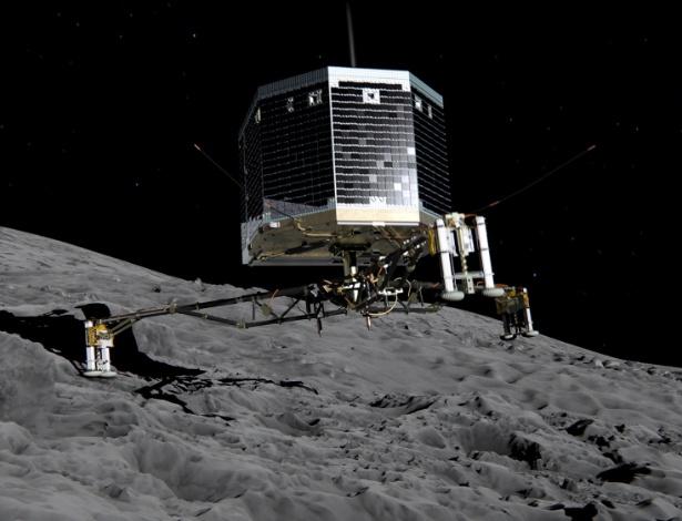 Ilustração da Agência Espacial Europeia mostra o pouso do robô Philae no cometa 67P
