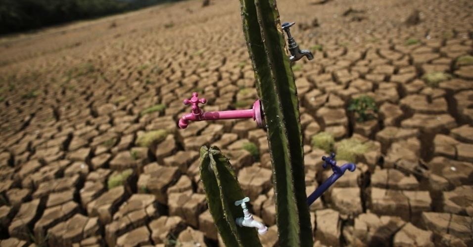 """3.dez.2014 - Um cacto com torneiras acopladas foi colocado no leito seco da represa de Atibainha, que faz parte do Sistema Cantareira, em Nazaré Paulista. A instalação artística, batizada de """"Deserto do Cantareira"""", é do artista e ativista Mundano"""