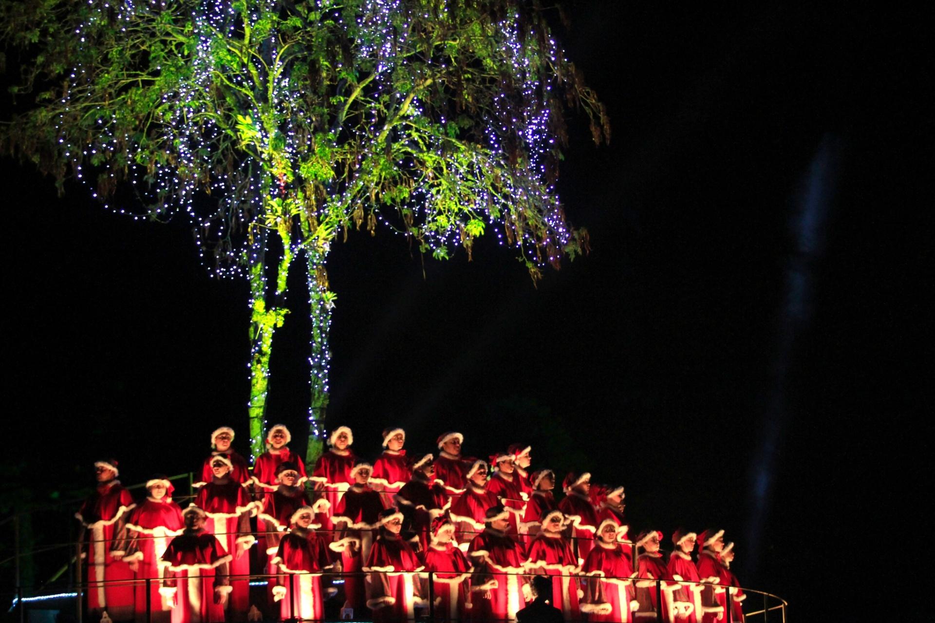 10.dez.2014 - Coral infantil se apresenta durante o Nativitatem, um dos espetáculos mais tradicionais do Natal Luz de Gramado, na Serra Gaúcha. A ópera, que acontece às margens do Lago Joaquina Rita Bier, tem 50 minutos de duração