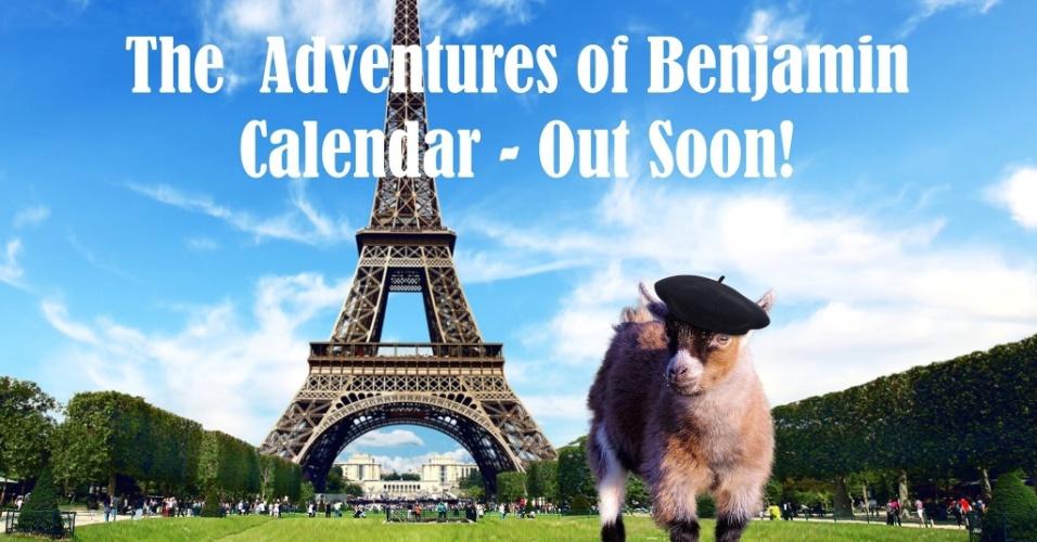 21.dez.2014 - Uma montagem mostra anúncio de calendário que será produzido com as fotos de Benjamin. Um site na internet vende itens como canecas com fotografias do cabrito