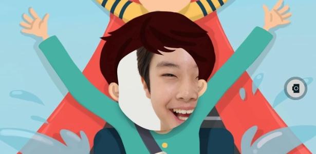Captura de tela do app Look at me, da Samsung; programa quer ajudar crianças autistas