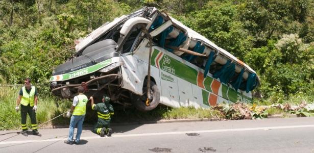 Ônibus capota na madrugada do dia 27 na BR-101, no município de Serra, Espírito Santo, deixando oito pessoas mortas