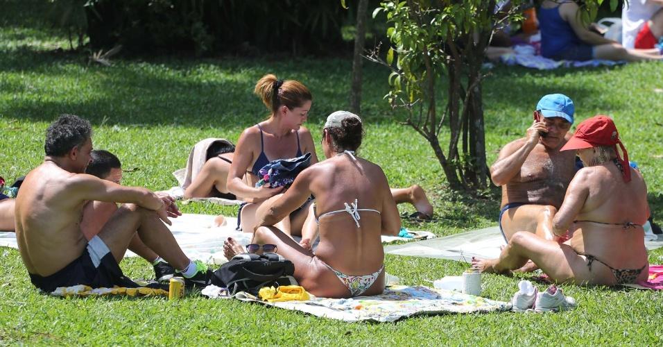 28.dez.2014 - Paulistanos aproveitam neste domingo (28) o calor de 34ºC para tomar sol no parque do Ibirapuera, na zona sul da capital paulista