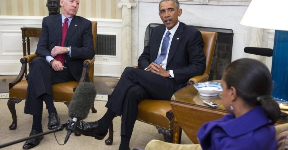 7.jan.2015 - O presidente dos Estados Unidos, Barack Obama, o vice-presidente, Joseph Biden e a conselheira de Segurança Nacional EUA, Susan Rice, falaram nesta quarta-feira (7) aos jornalistas e condenaram o ataque contra a sede da revista francesa