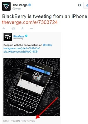 Que gafe! Twitter não poupa BlackBerry e revela uso de smartphone concorrente