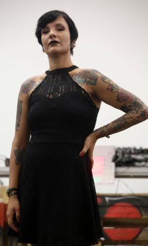 18.jan.2015 - Priscila Santos, 25 anos, foi uma das finalistas da categoria pin-up no concurso Miss Tattoo 2015, realizado na Tattoo Week, no Centro de Convenções Sulamérica, no centro do Rio de Janeiro (RJ). O evento é a maior feira brasileira de tatuagens