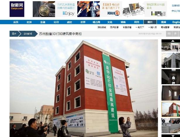 Na imagem, um dos prédios feitos pela WinSun com impressora 3D no parque industrial Suzhou, na província de Jiangsu (China)