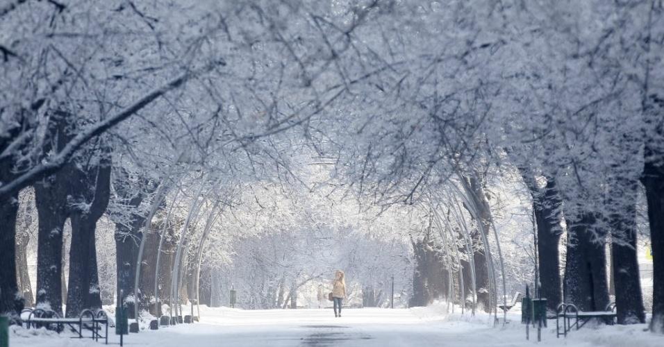 22.jan.2015 - Uma mulher passeia por parque coberto de neve nesta quinta-feira (22)  em Moscou, na Rússia
