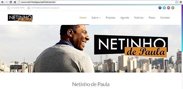 O site, usada até outubro para divulgar as atividades de Netinho durante a eleição, continua no ar