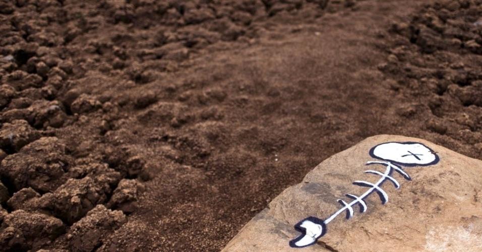 28.jan.2015 - Um grafite de um peixe morto é retratado nesta quarta-feira (28) no reservatório Jaguari-Jacareí, em Vargem (SP). O índice do sistema Cantareira, o principal da região, se manteve estável pelo terceiro dia seguido, com 5,1%, percentual que sobra da segunda cota do volume morto