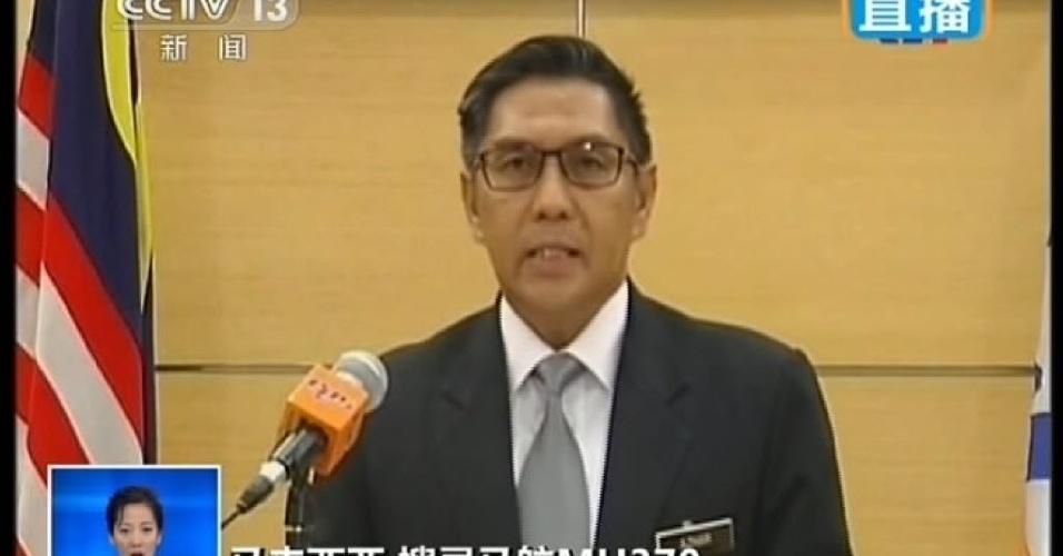 29.jan.2015 - O diretor-geral do Departamento de Aviação Civil da Malásia, Azharuddin Abdul Rahman, anunciou que o voo MH370 da Malaysia Airlines, que desapareceu em março do ano passado, sofreu um acidente fatal e que todos a bordo estão presumidamente mortos