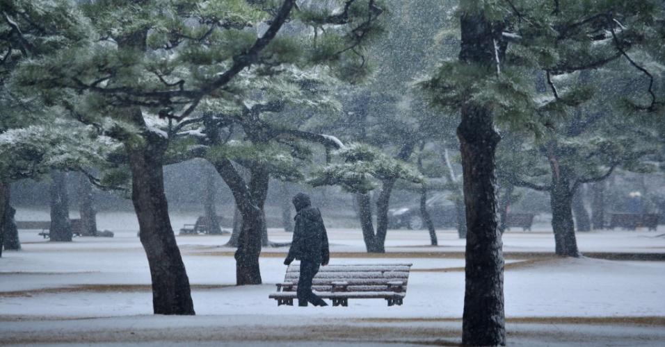 30.jan.2015 - Um homem caminha por um parque coberto por neve em Tóquio, no Japão, nesta sexta-feira (30)