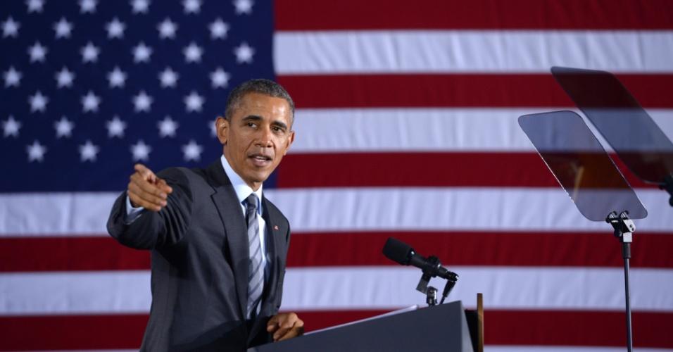 2.fev.2015 - O presidente americano Barack Obama faz discurso sobre o projeto do governo para o ano fiscal de 2016, nesta segunda-feira (2), no Departamento de Segurança Nacional em Washington, EUA