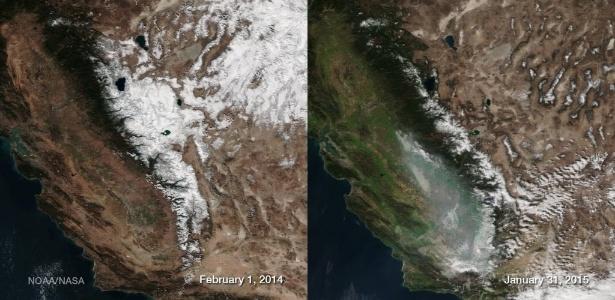 Combinação de fotos da Nasa mostra efeito da seca na Califórnia