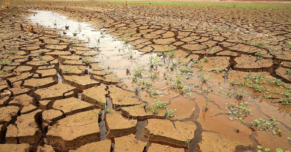 4.fev.2015 - Pequeno córrego surge entre rachaduras na terra da represa Jaguari-Jacareí na cidade de Bragança Paulista (SP), nesta quarta-feira (4). O nível do sistema Cantareira, principal manancial de São Paulo, subiu pela segunda vez seguida, segundo relatório da Sabesp (Companhia de Saneamento Básico do Estado de São Paulo). Em 2015, esse é o segundo registro de alta do reservatório, que opera com 5,2% da capacidade: 0,1 ponto porcentual a mais do que no dia anterior, quando estava com 5,1%