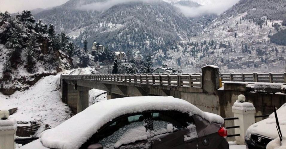 6.fev.2015 - Carros ficam cobertos por neve em Manali, no estado indiano de Himachal Pradesh, em foto tirada no dia 4 e divulgada nesta sexta-feira (6)