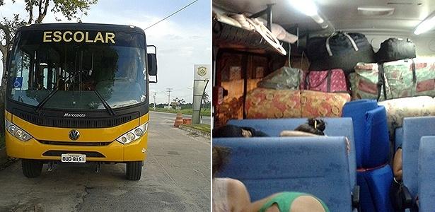 Os dois veículos parados pela polícia levavam passageiros com diversas malas