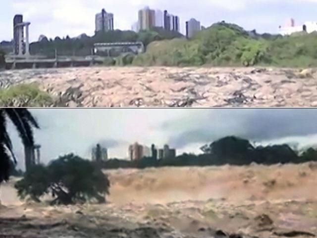 19.fev.2015 - Rio Piracicaba quase secou em fevereiro de 2014, mas, graças à chuva, subiu e entrou em estado de emergência nesta quarta-feira (18)